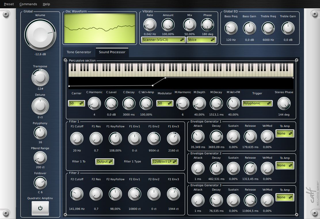 Calf Studio Gear Gnu Linux Audio Plug Ins Lower Frequencies Sound Like Claves Or Bongos Several Circuits Organ Processor